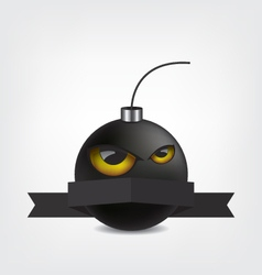 Bomb cartoon with eyes and ribbon vector