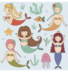 Funny colorful set with cute mermaids vector