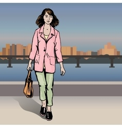 Sexy fashion girl in sketch style on a city vector