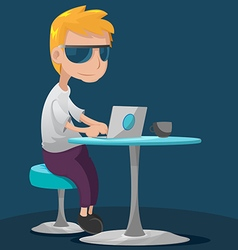 Creative teen man work laptop vector