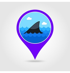 Shark fin pin map icon summer vacation vector