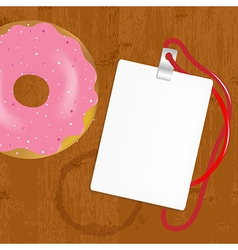 Badge With Donuts On Wooden vector image vector image