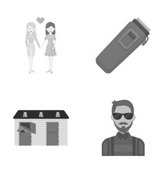 Bartender race business and other monochrome vector