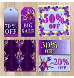 Big sale printable card template with purple iris vector