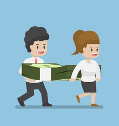 Business people carrying pile of dollars money vector