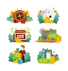 Casino Gambling Icons Set vector image