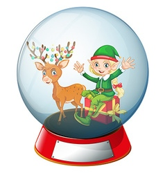 Christmas theme with elf and reindeer in glass vector image vector image