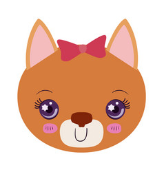 Colorful caricature face of female cat animal vector