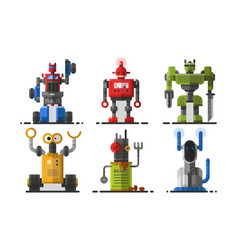 cute vintage robot technology machine future vector image
