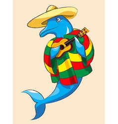 Dolphin and guitar vector image vector image