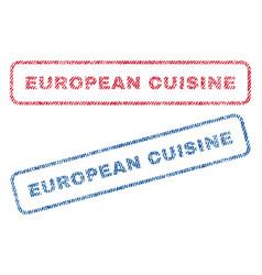 european cuisine textile stamps vector image vector image