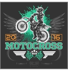 Extreme motocross Emblem t-shirt design vector image vector image