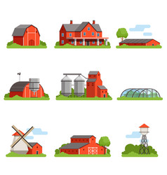 farm house and constructions set agriculture vector image vector image