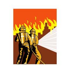 Fireman fire fighter fighting fire vector