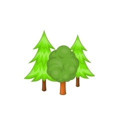 Forest trees icon in cartoon style vector image