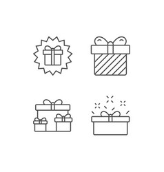 gifts line icons present and surprise box vector image