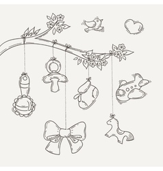 Greeting card with a doodle baby elements vector