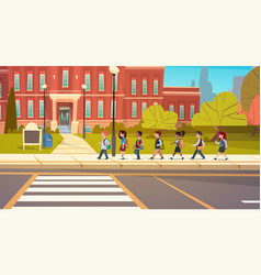Group of pupils mix race walking to school vector