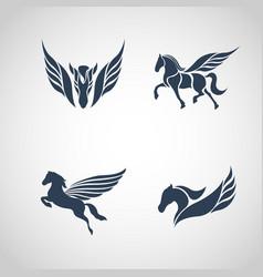 horse logo set vector image