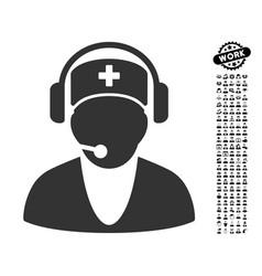 Hospital receptionist icon with men bonus vector