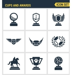 Icons set premium quality of cups and awards prize vector
