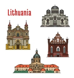 Lithuania famous architecture icons vector