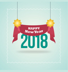 New year blue poster with red hanging ribbon vector