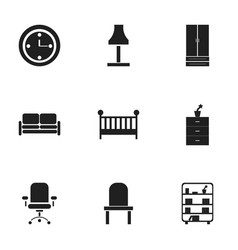 Set of 9 editable furnishings icons includes vector