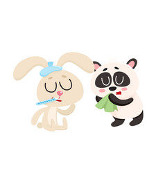 Sick rabbit and panda bear having cold flu runny vector
