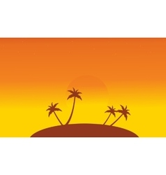 Silhouette of islands at sunset scenery vector