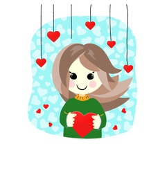 Valentine cute girl with heart vector image