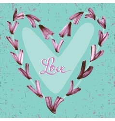 Watercolor hand painted hearts with text love on vector
