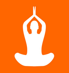 Yoga pose of woman white icon vector