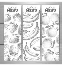 Set of vegetarian fresh fruit banners fruit sketch vector