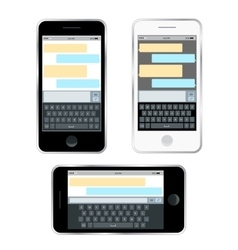 Mobile messenger chat hands with smartphone vector