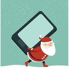 Santa holding smartphone vector
