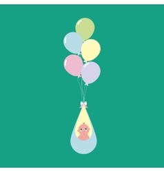 Baby flying on balloons vector