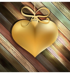 Gold heart on wooden background  EPS10 vector image