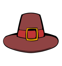 Pilgrim hat icon cartoon vector