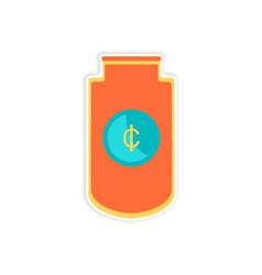 Stylish sticker on paper economic logo on white vector