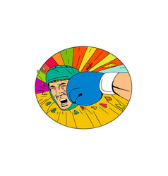 Amateur boxer hit by glove punch oval drawing vector