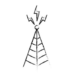 Telecommunications signal transmitter icon of vector