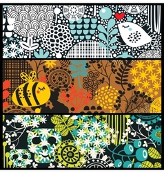 Cute banners with flowers birds skulls and bees vector image