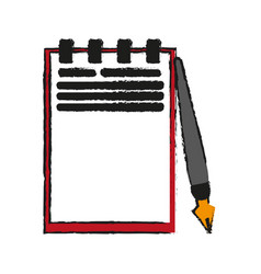 Notepad with fountain pen icon image vector