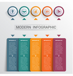 Infographics design template color buttons and 5 vector