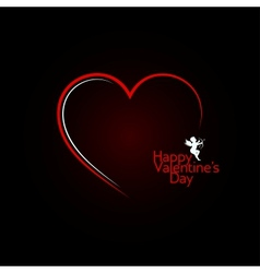 valentines day red heart angel background vector image