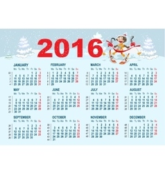 2016 calendar template monkey goes skiing vector