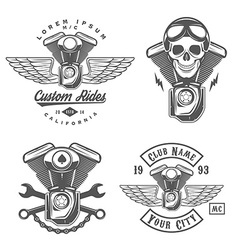 Set of vintage motorcycle engine design elements vector image