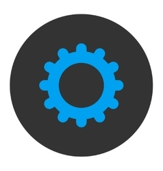 Gear flat blue and gray colors round button vector