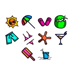 Summer season icon set vector